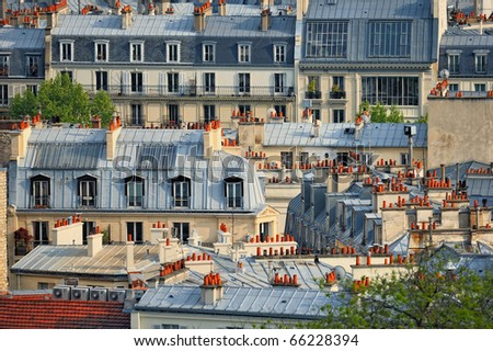 Roofs in residential quarter of Montmartre in Paris - stock photo
