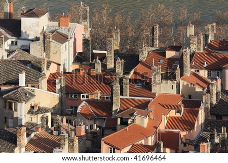 Roofs near Saone river in Lyon - stock photo