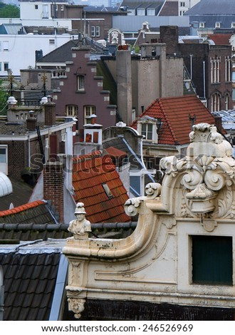Roofs of Amsterdam - stock photo