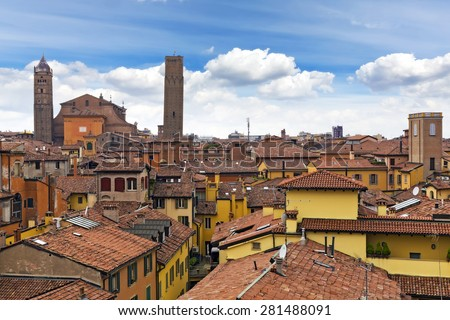 Roofs of Bologna, Italy - stock photo