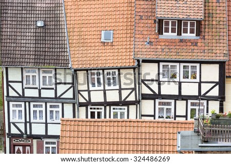 Roofs of half-timbered houses in Quedlinburg town, Germany - stock photo