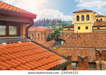 Roofs of houses in the city of Verona, Italy - stock photo
