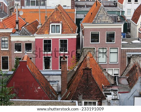 Roofs of houses. Leiden Netherlands - stock photo