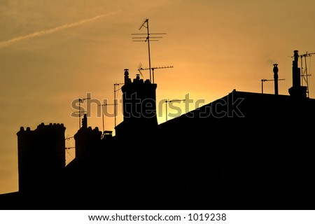Roofs of Lyon (France) at dusk - stock photo