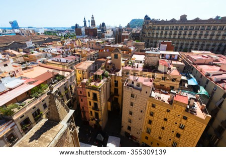 Roofs of Old city  - Barcelona. Catalonia, Spain