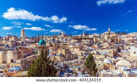 Roofs of Old City with Holy Sepulcher Church Dome, Jerusalem, Israel - stock photo