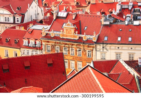 Roofs of old houses on Old Town Square, Prague, Czech republic - stock photo