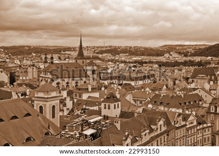 Roofs of old Prague (SEPIA) - stock photo