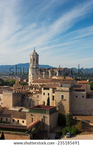 roofs of old town and cathedral church, Girona, Spain