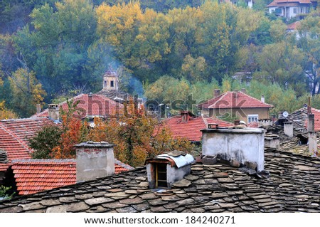 Roofs of Old Town of Lovech in Bulgaria in the fall  - stock photo