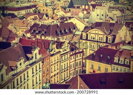 Roofs of Prague, Czech Republic, vintage retro style. - stock photo
