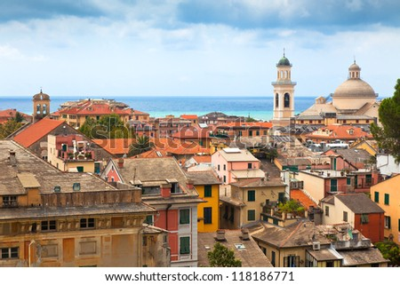 Roofs of the buildings in the city centre of Chiavari, Italy