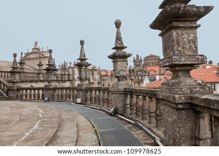 Roofs of the Cathedral of Santiago de Compostela in Spain - stock photo