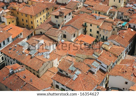 Roofs of the old city (Florence, Italy) - stock photo