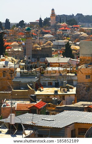 roofs of the Old city.Jerusalem.israel - stock photo