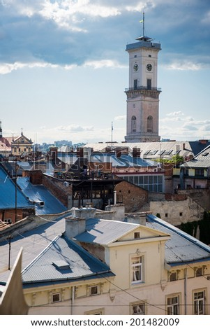roofs of the old city of Lviv - stock photo