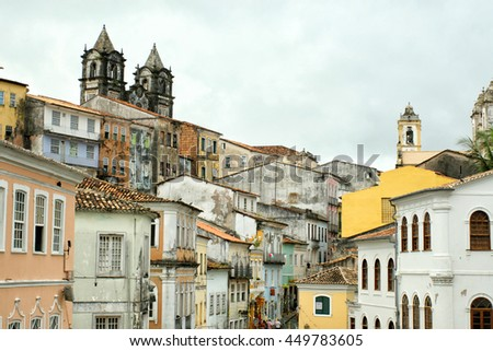 roofs of the old quarter Pelourinho, Salvador Bahia. Brasil - stock photo