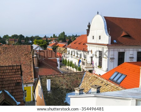 Roofs of the Szentendre, city of artists, galleries and museums, Hungary - stock photo