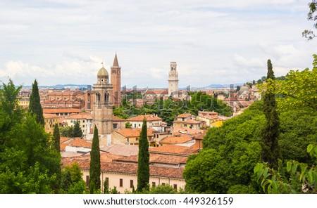 Roofs of Verona Italy - stock photo