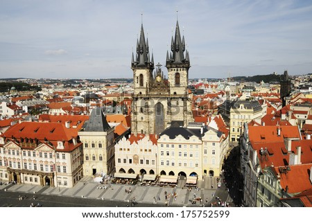 roofs Prague - stock photo