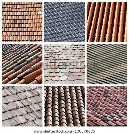 Roofs texture collage - stock photo