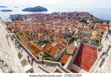 Roofs View on Dubrovnik Old Town wall, Croatia.