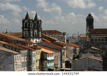 Roofscape in Pelourinho, Salvador de Bahia, Brazil, after the summer rain  - stock photo