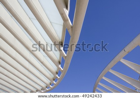 Rooftop detail of downtown city office buildings with modern corporate architecture - stock photo