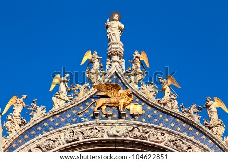 Rooftop detail of the Patriarchal Cathedral Basilica of Saint Mark in Venice - stock photo