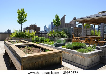 Rooftop garden with raised beds - stock photo