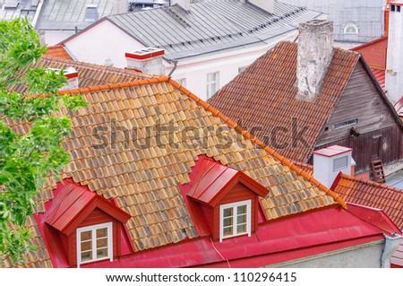 Rooftop in Tallinn, Estonia - stock photo