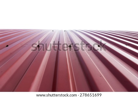 Rooftop of curved red corrugated iron on white background - stock photo