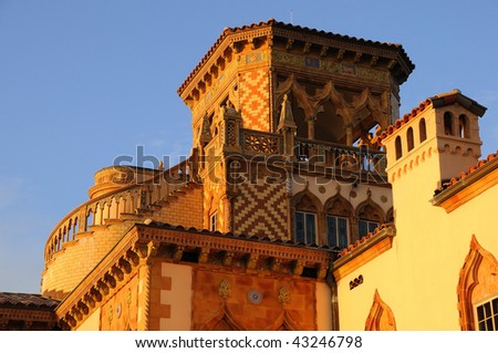 Rooftop of Ringling Mansion in Sarasota - stock photo