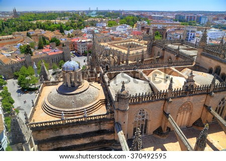 Rooftop of the Cathedral of Saint Mary of the See (Seville Cathedral) in Seville, Andalusia, Spain - stock photo