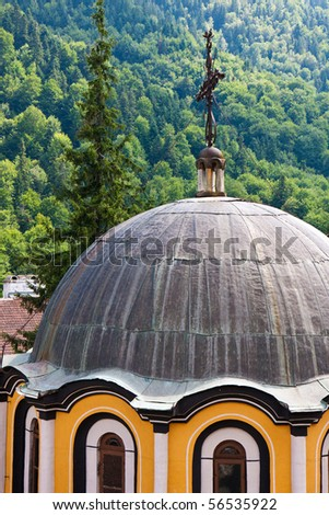Rooftop of the Rila Monastery in Bulgaria. - stock photo