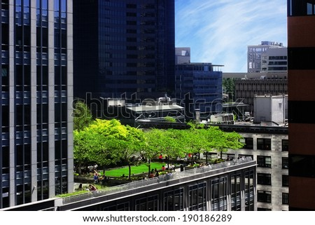 Rooftop park in the city - stock photo