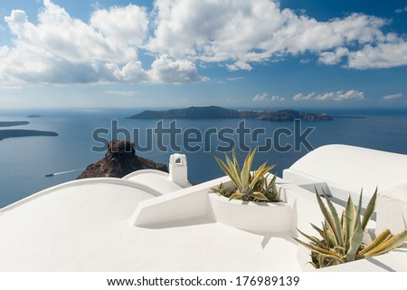 Rooftop plants on a house in Santorini Greece