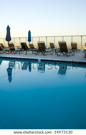 Rooftop Pool in Hollywood CA - stock photo