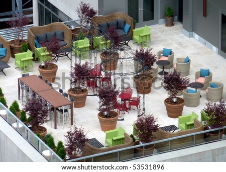 rooftop terrace in manhattan nyc - stock photo