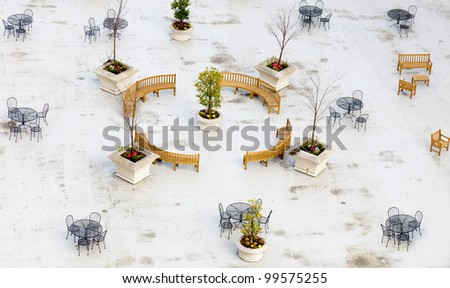 Rooftop terrace or garden of a city highrise building -- overhead top view - stock photo
