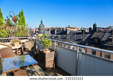rooftop terrace, Stockholm - stock photo