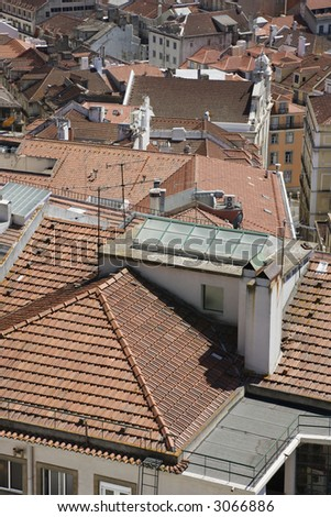 Rooftop urban view in Lisbon, Portugal.