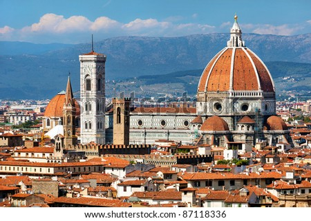 rooftop view of Basilica di Santa Maria del Fiore in Florence,Italy - stock photo