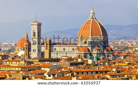 Rooftop view of medieval cathedral in Florence Tuscany - stock photo
