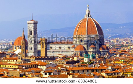 Rooftop view of medieval Duomo cathedral in Florence - stock photo
