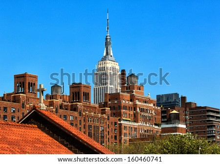 Rooftop view of the Empire State Building. - stock photo