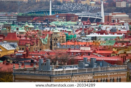 Rooftops and buildings of Goteborg, Sweden - stock photo