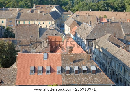 rooftops and chimneys of Petrovaradin Old Town, Serbia   - stock photo