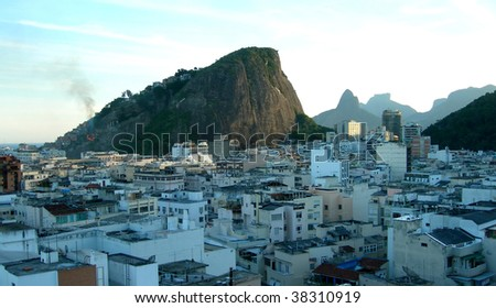 Rooftops and favelas in Rio de Janeiro, the city of the 2016 Olympiad, aerial view, Brazil, South America - stock photo