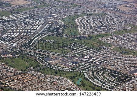 Rooftops and golf courses of Sun City, Arizona - stock photo